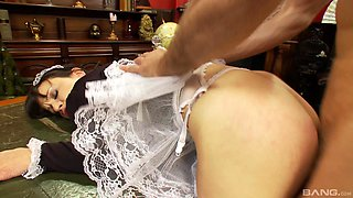 Brunette maid Lucy Love gets talked into pleasing her boss