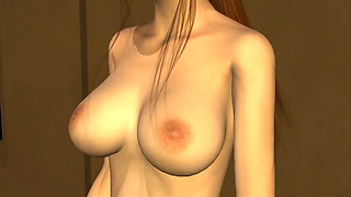 Super hot blonde 3D babe with massive jugs mouth fucked