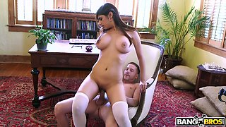 Big breasted emotional Lebanese American Mia Khalifa is fucked doggy