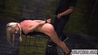 A blonde slut loves rough and wild stuff so she gets tied up and abused roughly by a black stud
