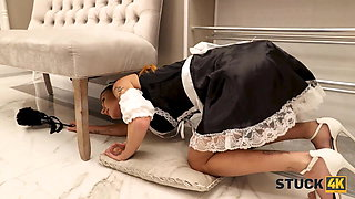 STUCK4K. Sexy maid is stuck and needs some help