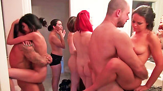 Lots of tits are shaking in the bathroom at a party