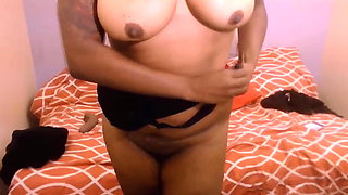 Frisky ebony princess Bell with flexible bbody and huge tits