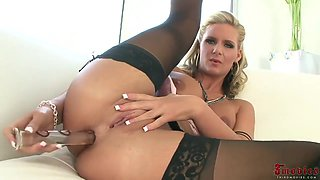 Aroused Blonde Pornstar, Phoenix Is Rubbing Her Clit While Getting Fucked In The Ass, From The Back