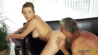 DADDY4K. Old man and sons stunning gf have sex in nice poses