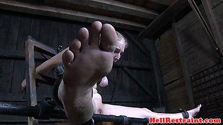 Feet punished sub breast bonded and toyed