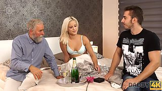 DADDY4K. Taboo sex from Belle and BFs daddy ends with a cumshot on her ass
