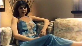 Sweet and lascivious classic brunette on the couch with two men