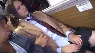 White giril caught on bus