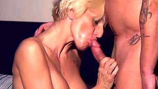 Beautiful blonde MILF fucked and facialized