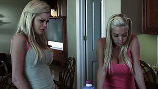 Beautiful blonde in bikini seduces moms boyfriend