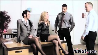 Hot lassies get nailed in a foursome