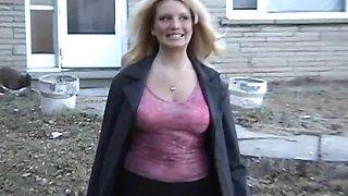 Public nudity flashing busty blonde Barbie naked outdoors