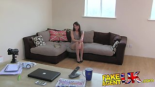 Fake Agent UK Orgasms and squirting from Hairy pussy
