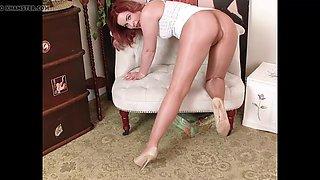 Shiny pantyhose white dress high heels