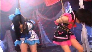 Slutty Oriental girls explore their bondage fetish fantasy