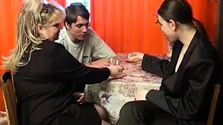 Chubby Russian mom in lingerie gets nailed by two young guys