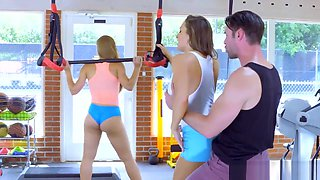 Fit girls have a threesome at the gym