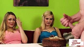 Busty english voyeurs instruct cfnm session