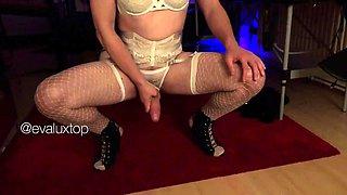 Sexy crossdresser in lingerie receives a marvelous blowjob