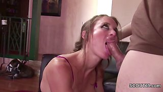 Hot MILF in Lingerie Seduce Young Boy to Fuck and Swallow