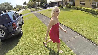 Young blonde babe in a pink dress gives a blowjob in the car and gets fucked in the backyard
