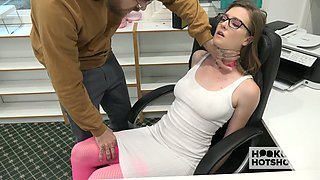 Kinky dude fucks sexy secretary in glasses right in the office