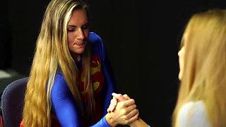 Superheroine Supergirl Is Defeated by Dark Supergirl