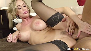 Lingerie-Clad Cougar Enjoying A Hardcore Doggy Style Fuck In Her Bedroom