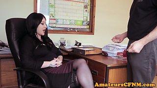 Office babe dominates over naked guy