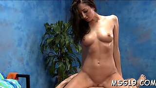 oiled babe sucks and rides rod