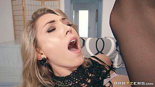 Hot blonde in lingerie gets ravaged by two big cocks