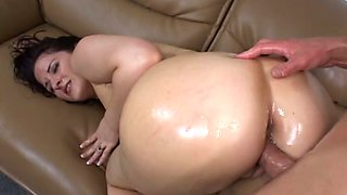 Hardcore oiled up anal sex with a steaming bunny