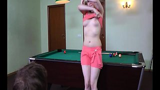 Bayan is playing some pool but horny Ata has other things