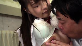 Young japanese girl worships old samurais dirty feet