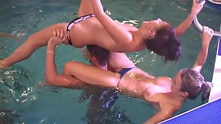Hot group sex in the pool