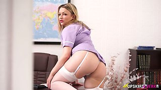 Yummy upskirt pussy of sex-appeal nurse Penny Lee
