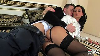 brunette babe gets banged by big cock