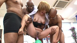 Japanese MILF and three black men have fun with sex toys