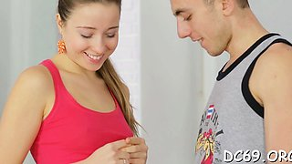 Fleshly legal age teenager is seducing her personal trainer