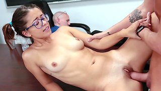 Horny students have quick fuck in front of sleeping teacher