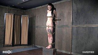 Skinny slave slut gets molested by her master