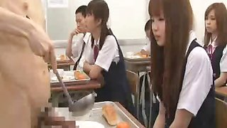 Naked in school CFNM style student jerks himself in front