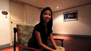 Awesome asian brunette Angel bounces on hard dink