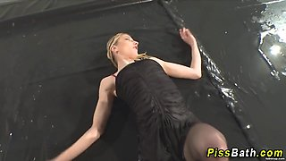 Two sluts get piss shower