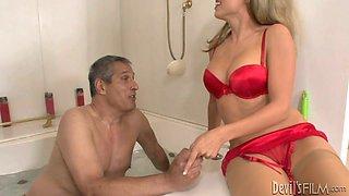 Salacious blonde bombshell in bathroom threesome