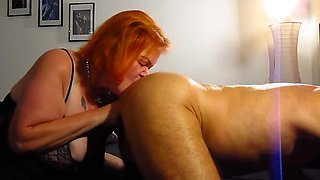 Bitch Tina licks ass + sprayed by pierced cock in the mouth!