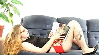 Blonde slut playing vibrator while smoking