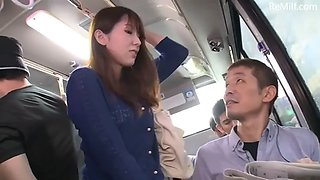 Beautiful japanese woman was molested on the bus and her friend could not help her