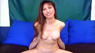 Big Titty Oriental Chokes On White Jism